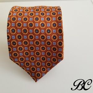 Jos. A Bank Tie Orange Gold Blue Rich 100% Silk